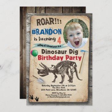 dinosaur birthday photo invitation realistic