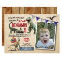 dinosaur birthday photo invitations rustic