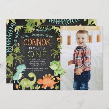 dinosaur birthday with photo invitation