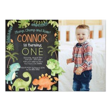 Small Dinosaur Birthday With Photo Invitation Front View
