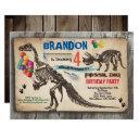 dinosaur dig birthday invitation rustic fossil