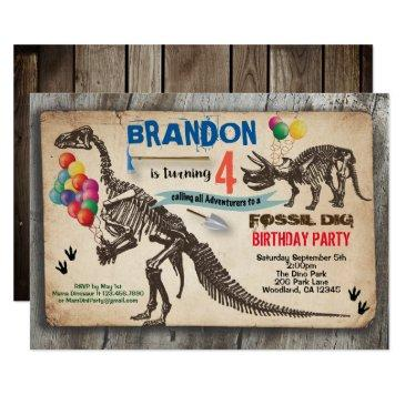 dinosaur dig birthday invitation rustic fossil