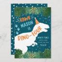 dinosaur dino-four rawr 4th fourth birthday invitation