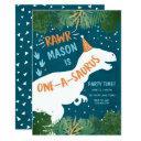dinosaur one-a-saurus rawr 1st first birthday invitation