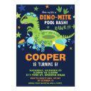 dinosaur pool birthday party bash boy dino floatie invitation