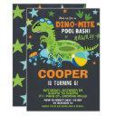 dinosaur pool birthday party bash boy dino-mite invitation