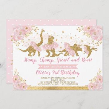 dinosaur princess ballerina pink floral birthday invitation
