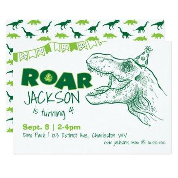 dinosaur roar birthday invitations