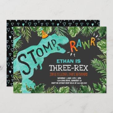 dinosaur three-rex birthday invitation boy dino