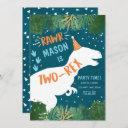 dinosaur two-rex t-rex rawr 2nd second birthday invitation