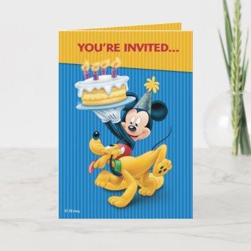 disney mickey mouse & pluto birthday party invitation