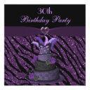 diva cake & printed zebra glitter 30th birthday invitation