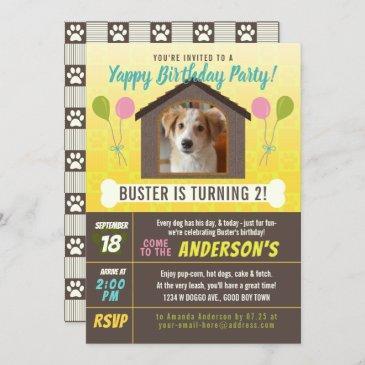 dog birthday party dog house and paws custom photo invitation