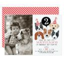 dogs and black balloon photo birthday invite