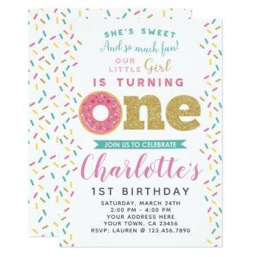 donut 1st birthday invitations