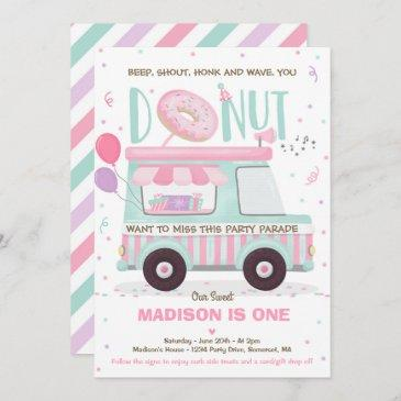 donut birthday party drive by birthday parade invitation