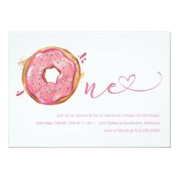 donut sprinkles pink girls 1st birthday invitation