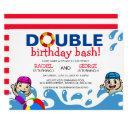 double celebration | kids pool birthday party invitation
