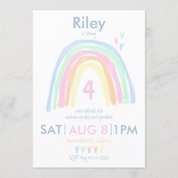 double sided pastel rainbow birthday party invitation