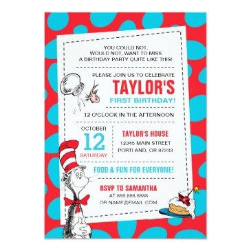 Small Dr. Seuss | The Cat In The Hat Birthday Invitations Front View