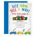 drive by birthday parade, boy birthday invitation