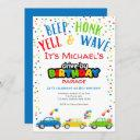 drive by birthday parade, boy birthday invitation