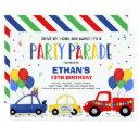 drive by birthday parade invitation blue parade