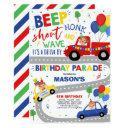 drive by birthday parade invitation blue parade