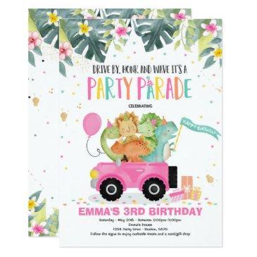 drive by birthday parade invitation dinosaur party