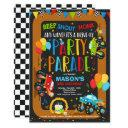drive by birthday parade invitation monster trucks