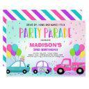 drive by birthday parade invitation pink parade