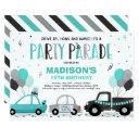 drive by birthday parade invitation teal parade
