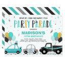 drive by birthday parade invitation teal parade