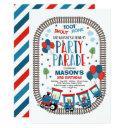 drive by birthday parade invite choo choo train