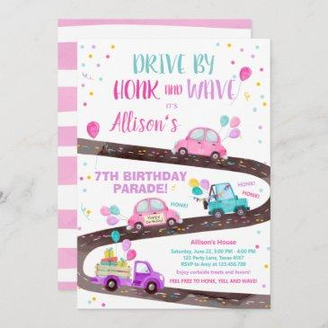 drive by birthday parade party pink drive through invitation