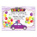 drive by birthday parade purple car party girl invitation