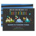 drive by birthday party parade blue drive through invitation