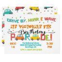 drive by birthday party parade invitation