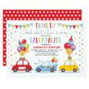 drive by birthday party parade quarantine boy invitation