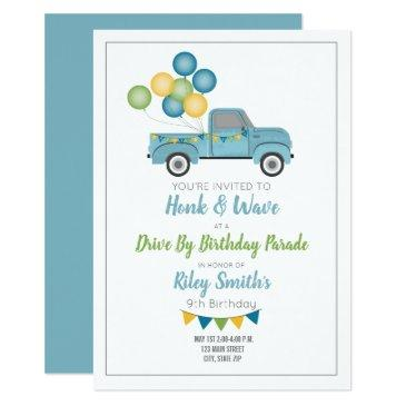 drive by birthday social distance blue truck invitation