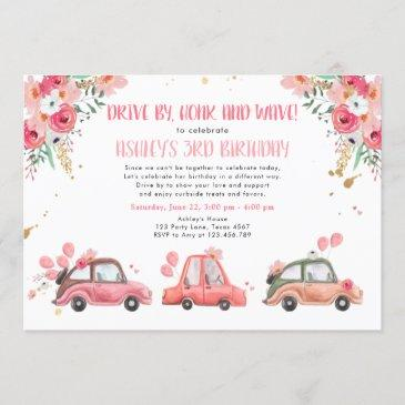 drive by floral pink gold through girl birthday invitation