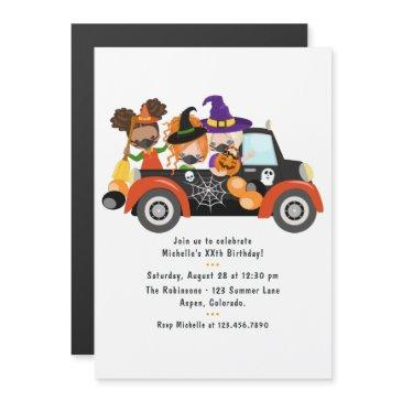 drive by halloween birthday party magnetic invitation