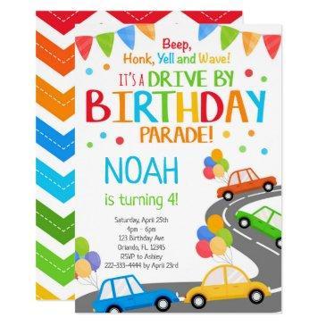 drive by invite, boy birthday parade invitation