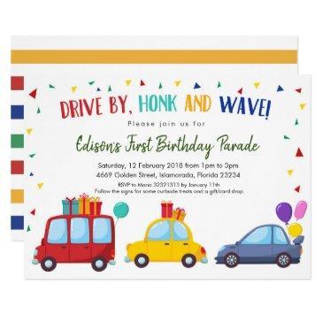 drive by kid's birthday party parade invitation