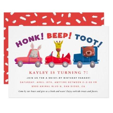 drive by social distancing kids birthday party invitation