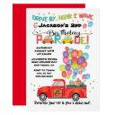 drive by truck birthday party parade invitation