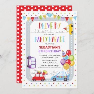 drive thru birthday parade quarantine party invitation