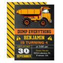 dump truck construction kids birthday party invite