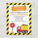 dump truck construction theme kids birthday party invitation