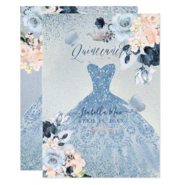 dusty blue+blush roses glitter gown quinceanera invitation